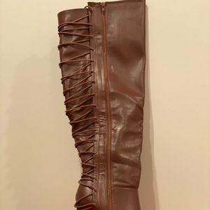 Brown wedge wide calf knee high boot
